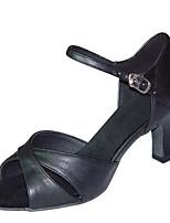 """Недорогие -Жен. Обувь для латины Сатин Сандалии / На каблуках Каблук """"Клеш"""" Персонализируемая Танцевальная обувь Черный / Хаки / Цвет-леопард"""