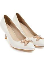 Недорогие -Жен. Обувь Полиуретан Весна Туфли лодочки Обувь на каблуках На шпильке Белый / Черный / Розовый