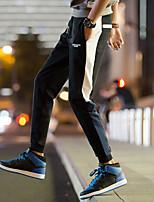 billiga -Herr Ficka / Snörning / Beam Foot 1st Joggerbyxor / Löparbyxor - Svart, Blå sporter Färgblock Byxa Fitness, Gym, Träna Plusstorlekar Sportkläder Andningsfunktion, Svettavvisande, Bekväm Elastisk Smal