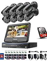 billiga -sannce® 8ch 8pcs 720p vattentätt övervakningssäkerhetssystem med 4in1 1080p inbyggd LCD-DVR-skärm stöds tvi analoga AHD ip-kameror med 1tb HD