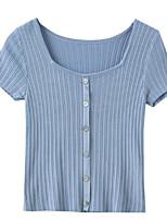 cheap -women's cotton t-shirt - solid colored u neck