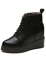 Недорогие -Жен. Армейские ботинки Полиуретан Осень Ботинки Туфли на танкетке Круглый носок Черный