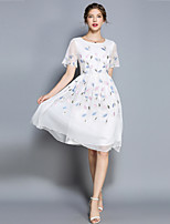 cheap -Women's Sophisticated / Elegant Chiffon Dress Embroidered
