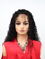 Недорогие -Remy Лента спереди Wig Бразильские волосы Афро Квинки Парик Ассиметричная стрижка 130% / 150% Женский / Легко туалетный / Sexy Lady Черный Жен. Длинные Парики из натуральных волос на кружевной основе