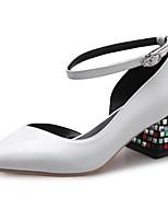 Недорогие -Жен. Комфортная обувь Наппа Leather Лето Обувь на каблуках На толстом каблуке Белый / Черный / Красный