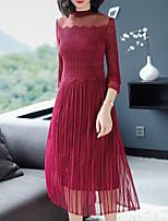 economico -Per donna Essenziale / Elegante Fodero Vestito Tinta unita Medio