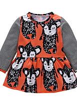 Недорогие -малыш Девочки С принтом Длинный рукав Платье
