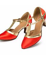 Недорогие -Жен. Обувь для модерна Сатин На каблуках Тонкий высокий каблук Танцевальная обувь Красный