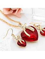 cheap -Women's Synthetic Diamond Jewelry Set Drop Earrings Pendant Necklace Solitaire Heart Love Ladies European Elegant Bridal everyday Crystal Earrings Jewelry Red / Green / Blue For Wedding Party Gift