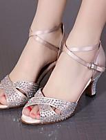 preiswerte -Damen Schuhe für den lateinamerikanischen Tanz Seide Absätze Schlanke High Heel Tanzschuhe Schwarz / Hautfarben