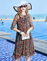 Недорогие -Жен. Винтаж / Классический Оболочка Платье - Цветочный принт / Контрастных цветов Средней длины