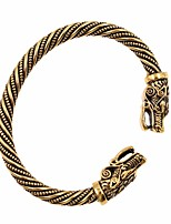 Недорогие -Муж. Змея Браслет разомкнутое кольцо - Голова волка Простой, модный, Мода Браслеты Золотой / Черный / Серебряный Назначение Для клуба
