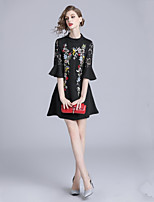 cheap -Women's Elegant Flare Sleeve A Line Dress Embroidered