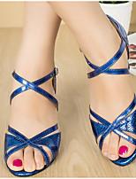 Недорогие -Жен. Обувь для латины Полиуретан На каблуках Тонкий высокий каблук Танцевальная обувь Золотой / Красный / Синий