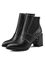 Недорогие -Жен. Fashion Boots Кожа Осень Ботинки На толстом каблуке Сапоги до середины икры Черный