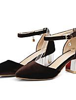 Недорогие -Жен. Комфортная обувь Замша Лето Обувь на каблуках На толстом каблуке Черный / Коричневый / Синий