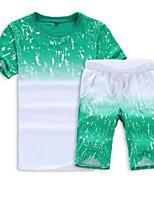 cheap -Men's Sports Short Sleeve Activewear Set - Geometric Round Neck