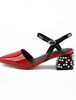 Недорогие -Жен. Наппа Leather Весна Туфли лодочки Обувь на каблуках Блочная пятка Белый / Черный / Красный
