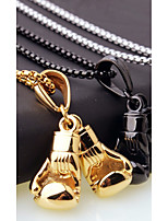 cheap -Men's Stylish / Foxtail chain Chain Necklace / Charm Necklace - Stainless Boxing Gloves European, Casual / Sporty, Fashion Cool Gold, Black, Silver 45 cm Necklace Jewelry 1pc For Gift, Street