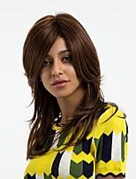 Недорогие -Человеческие волосы без парики Натуральные волосы Прямой Боковая часть Природные волосы Коричневый Без шапочки-основы Парик Жен. Повседневные