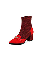 cheap -Women's Shoes Suede Fall & Winter Comfort Boots Chunky Heel Black / Red