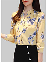 Недорогие -Жен. С принтом Блуза Однотонный / Цветочный принт / Геометрический принт