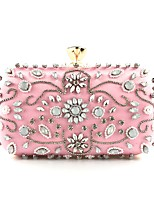 cheap -Women's Bags Polyester Evening Bag Beading / Crystals Floral Print Blushing Pink