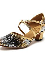 Недорогие -Жен. Обувь для модерна Синтетика Кроссовки Цветы из сатина / Планка Толстая каблук Танцевальная обувь Золотой / Синий