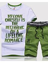 abordables -Homme Sports Col Arrondi Manches Courtes Activewear Set Couleur Pleine / Lettre
