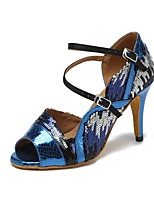cheap -Women's Latin Shoes Faux Leather Sandal Slim High Heel Dance Shoes Blue