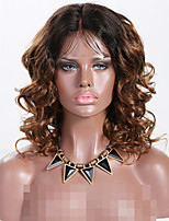 cheap -Remy Human Hair Lace Front Wig Brazilian Hair Wavy Wig Layered Haircut 150% Best Quality / New Black Women's Long Human Hair Lace Wig