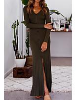 billige -Dame I-byen-tøj Elegant Bomuld Tynd Kjole - Ensfarvet, Delt Maxi V-hals / Efterår