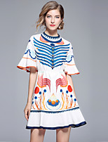 cheap -Women's Street chic Flare Sleeve A Line Dress - Abstract Print