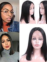 cheap -Remy Human Hair Lace Front Wig Peruvian Hair Straight Wig Bob Haircut 150% Best Quality / New Arrival / Hot Sale Women's Mid Length Human Hair Lace Wig