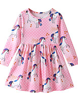 cheap -Kids / Toddler Girls' Animal / Cartoon Long Sleeve Dress