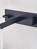 cheap -Bathroom Sink Faucet - Widespread / New Design Black Wall Mounted Two Handles One Hole