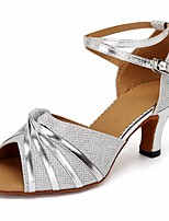 cheap -Women's Latin Shoes Synthetics Heel Slim High Heel Dance Shoes Silver