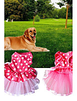 cheap -Dogs / Cats Dress Dog Clothes Polka Dot Pink Fabric Costume For Pets Female One Piece / Voiles & Sheers