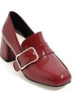 baratos -Mulheres Sapatos Confortáveis Couro Ecológico Primavera Verão Saltos Salto Robusto Preto / Rosa claro / Vinho