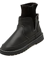 Недорогие -Жен. Fashion Boots Полиуретан / Эластичная ткань Осень На каждый день Ботинки На плоской подошве Круглый носок Сапоги до середины икры Черный / Бежевый