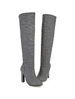 Недорогие -Жен. Fashion Boots Синтетика Наступила зима Ботинки На толстом каблуке Заостренный носок Сапоги до колена Черный / Светло-серый / Свадьба / Для вечеринки / ужина