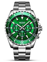 cheap -MEGIR Men's Sport Watch Dress Watch Japanese Quartz 30 m Water Resistant / Water Proof Calendar / date / day Chronograph Stainless Steel Band Analog Luxury Fashion Black / Silver - Black Silver Green