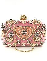Недорогие -Жен. Мешки Полиэстер / Сплав Вечерняя сумочка Бусины / Кристаллы Цветочный принт Розовый