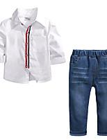 Недорогие -Дети Мальчики Активный Школа Однотонный Длинный рукав Хлопок Набор одежды