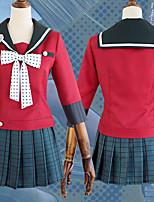 economico -Ispirato da Dangan Ronpa Harukawa Maki Anime Costumi Cosplay Abiti Cosplay A pois / Fiocco / Scozzese Foulard / Gonne / Top Per Per donna Costumi Halloween
