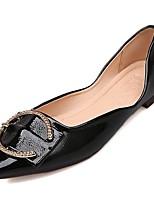 baratos -Mulheres Sapatos Confortáveis Couro Ecológico Outono Rasos Sem Salto Dedo Apontado Preto / Vermelho / Amêndoa