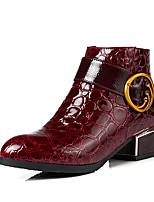 Недорогие -Жен. Лакированная кожа Наступила зима Модная обувь Ботинки На толстом каблуке Круглый носок Ботинки Черный / Синий / Вино