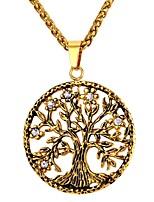 baratos -Homens Colares com Pendentes - Aço Inoxidável Árvore da Vida Fashion Dourado, Prata 55 cm Colar 1pç Para Presente, Diário