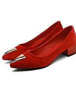 Недорогие -Жен. Балетки Замша Весна Обувь на каблуках На толстом каблуке Черный / Светло-лиловый / Красный