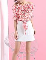 Недорогие -Жен. Блуза Юбки Контрастных цветов